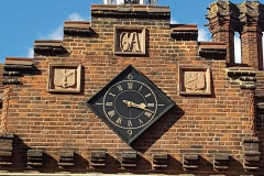 Hospital Clock driven by medieval mechanism predating the building